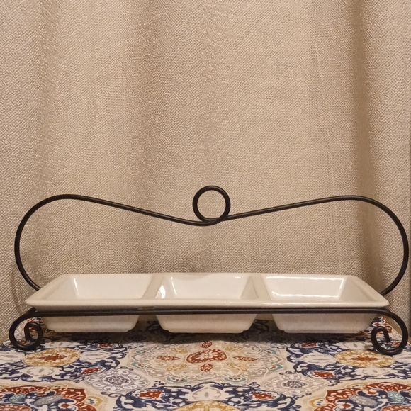Three Section Platter With Metal Rack